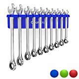 Olsa Tools Magnetic Wrench Holder Organizer | Fits SAE 3/8' Thru 15/16' & Metric 10mm Thru 19mm | Premium Quality Tool Organizer (Blue)