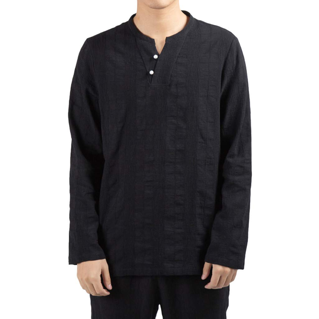 Fitfulvan Men Blouse Baggy Casual Long Sleeve V-Neck Tops with Button Soild Color Shirts Black