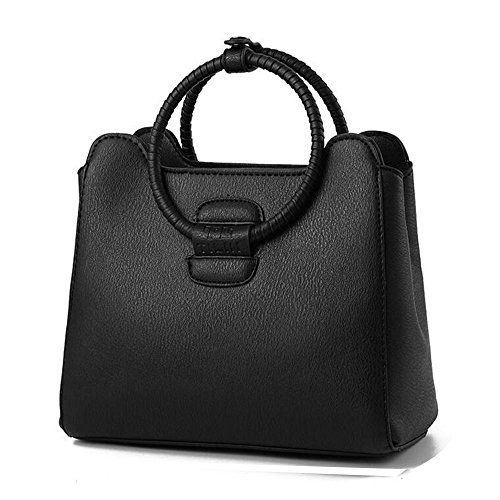 Toopot Mujer Simple Color Puro Pu Boutique Bolsas De Cuero Top Handle Bolso Señoras Casual Cross-Body Bolsa NEGRO