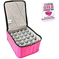 Premium 30 Bottle Essential Oil Carrying Case for 30ml, 15ml, 10ml, 5ml Bottles - Sturdy Storage Travel Bag with Adjustable Spacing for Roller and Dropper Bottles, Diffuser Lockets, Pads