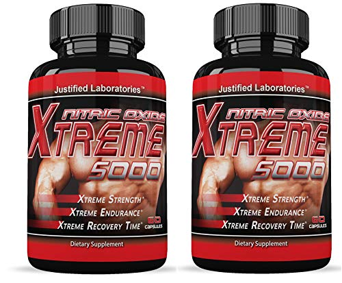 Nitric Oxide Xtreme 5000 Muscle Growth Testosterone Booster Supplement 60 Capsules Per Bottle (2 Bottles)