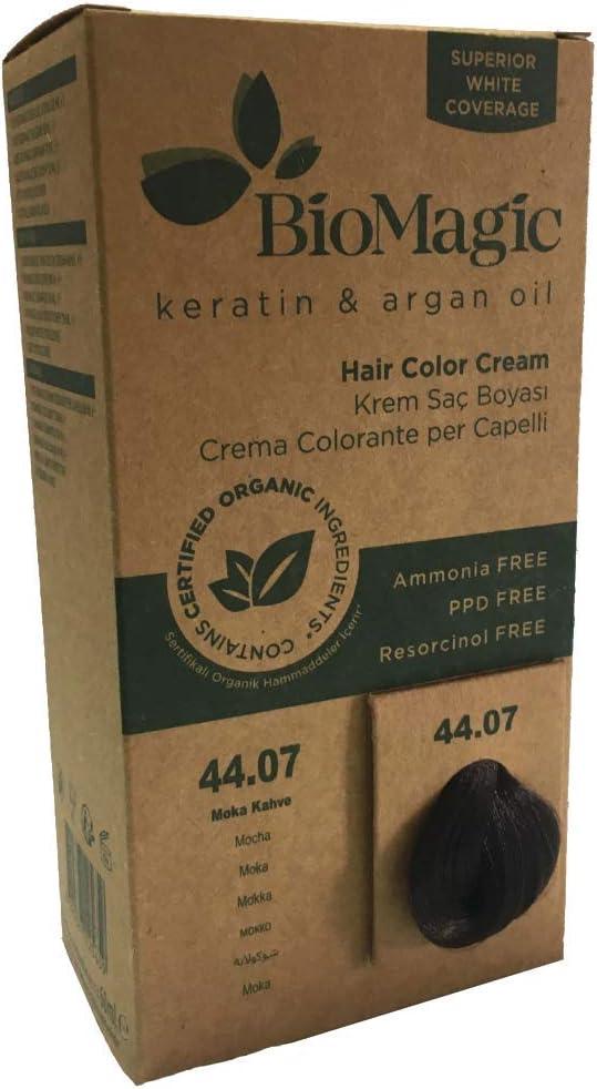 BioMagic, línea de aceite de queratina y argán, sin amoníaco, sin resorcinol, tinte de pelo libre de PPD, ingredientes orgánicos colorante para el ...