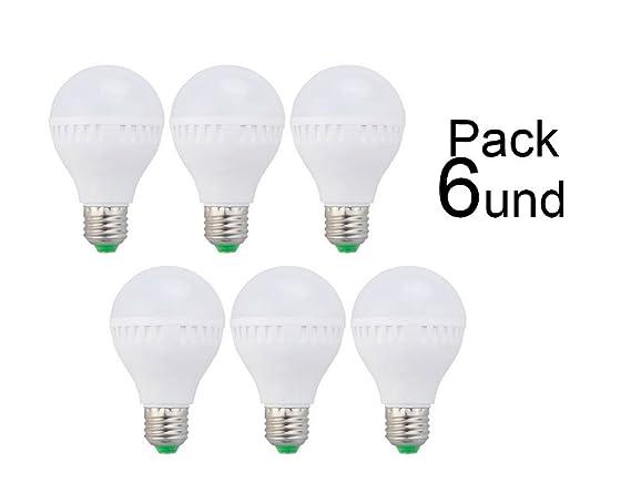 Qpasada, Pack de 6 bombillas LED E27-7W, Luz cálida (3000K-
