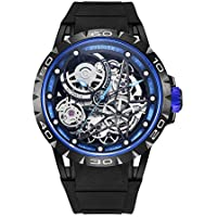 Huboler Men's Watch Skeleton Automatic Mechanical Stainless Steel Wrist Watches (Blue Black)
