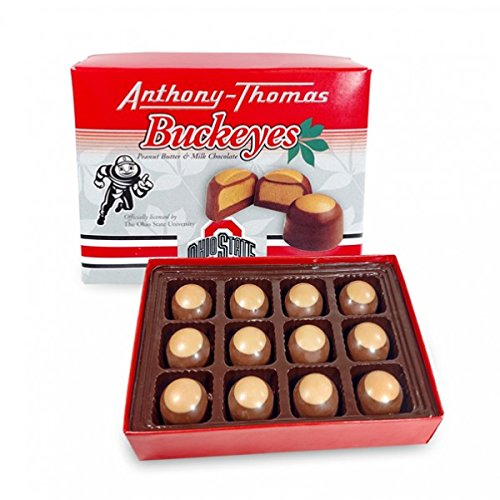 Anthony Thomas Peanut Butter & Milk Chocolate Buckeyes (12 Count) Ohio State University Themed Box