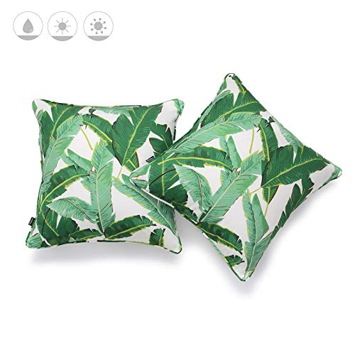 """Hofdeco Outdoor Patio Decorative Throw Pillow Cover ONLY Weather Water Resistant Canvas Jungle Greenery Tropical Banana Leaf 18""""x18"""" Set of 2"""