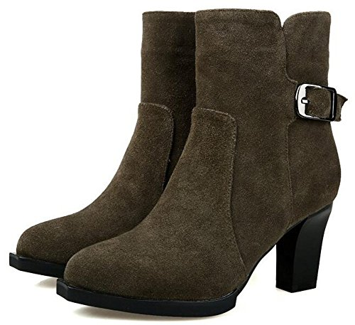 IDIFU Womens Elegant Buckle Mid Chunky Heels Faux Suede Ankle Boots Riding Booties With Side Zipper Army Green oRafuRXLv