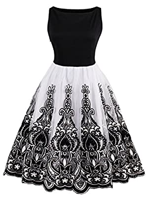 Sisjuly Women's Vintage 1950s Sleeveless Lace Cocktail Party Swing Evening Dress