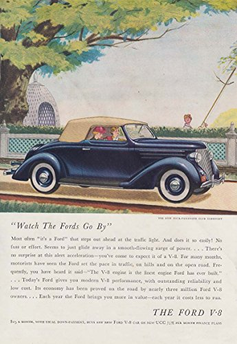 Watch the Fords Go By - Club Cabriolet V-8 ad 1936 BHG