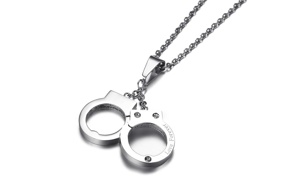 PJ Jewelry Unisex Stainless Steel Engraved Love Forever Handcuffs Pendant Necklace with 20'' Chain by PJ Jewelry (Image #3)