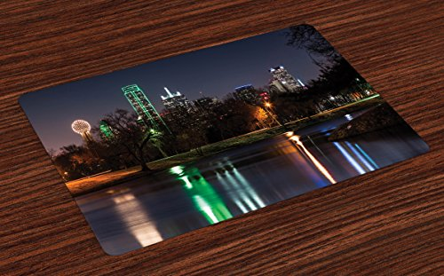 Lunarable USA Place Mats Set of 4, Dallas City Skyline Reflected in a Lake Park with Trees at Night Landscape Scenery, Washable Fabric Placemats for Dining Room Kitchen Table Decor, Multicolor (City Christmas Park Dallas Old)