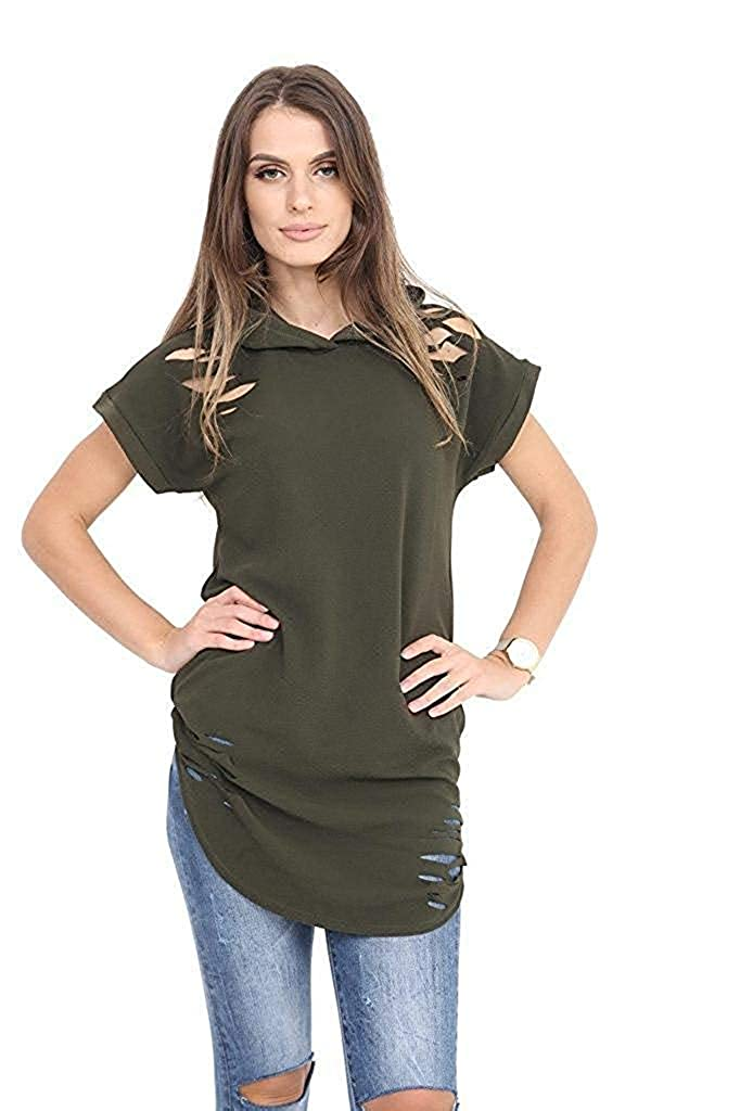 Hi Fashionz Girls Ladies Women Distressed Short Sleeve Hooded Curved Hem Top Small to Plus Size