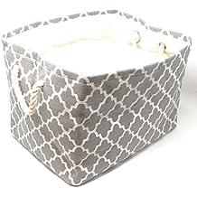 Large Storage Basket, Decorative Cloth Bin, Collapsible Foldable Fabric Cube, Laundry Hamper Grey