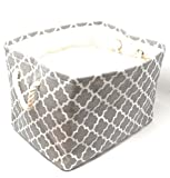 wooden clothes basket - Large Storage Basket, Decorative Cloth Bin, Collapsible Foldable Fabric Cube, Laundry Hamper Grey