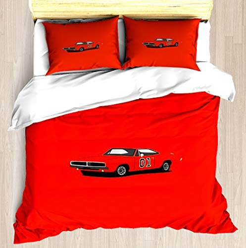 NTCBED Dodge Charger - The General Lee - Duvet Cover Set Soft Comforter Cover Pillowcase Bed Set Unique Printed Floral Pattern Design Duvet Covers Blanket Cover Twin/XL Size Duke Printed Sheet Set