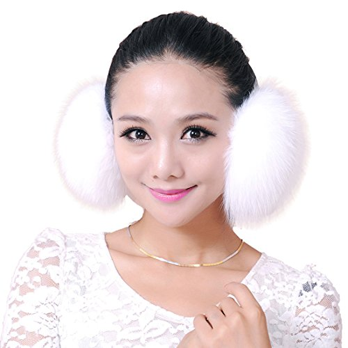 URSFUR Arctic Fox Fur Empress Earmuffs Multicolors (White)