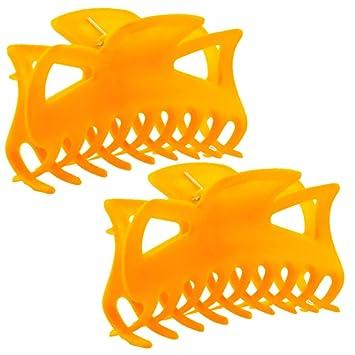 Large peach orange acrylic hair claw clip for medium thick hair