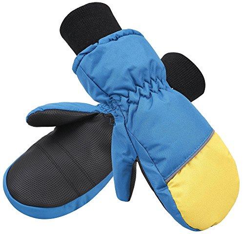 ANDORRA Boy's Waterproof Thinsulate Ski Gloves, Long Snow Cuff, Black/Blue, L - Cuff Snow