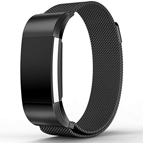Bewish Milanese Loop Stainless Steel Watch Band Bracelet for Fitbit Charge 2 Magnet Clasp Lock Adjustable Replacement Watch Strap (L, Black)
