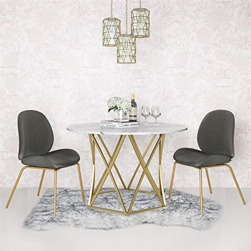 Marble Round Dining Table Set - CosmoLiving by Cosmopolitan DA8516 Elle Dining Table Faux Marble