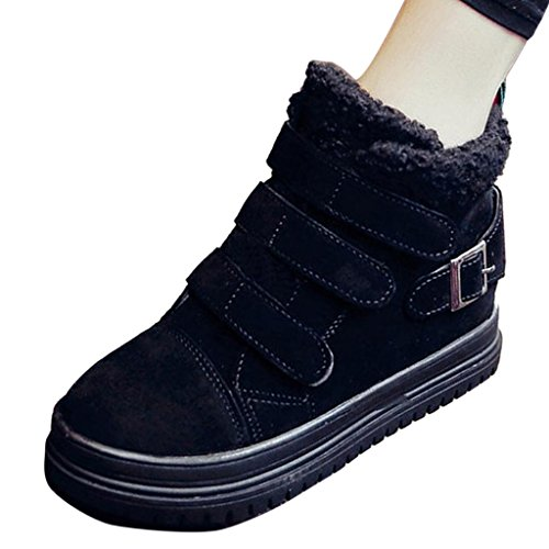 Binying Vrouwen Casual High-top Inner-increaser Velcro Lamswollen Sneakers Zwart