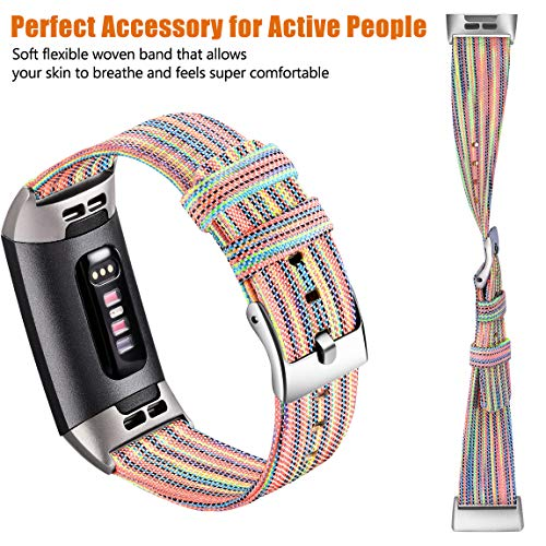 Maledan Bands Compatible with Fitbit Charge 3 /& Charge 3 SE Fitness Activity Tracker for Women Men Breathable Woven Fabric Replacement Accessory Strap