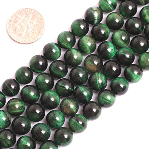 Joe Foreman Tiger Eye Beads for Jewelry Making Gemstone Semi Precious 8mm Round Green 15