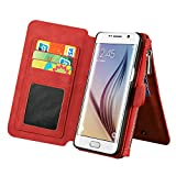 Luxury Leather Wallet Case for Apple iPhone 5 SE ,Generic Multi-function 2 in 1 Detachable Zipper Design Magnetic Leather Folio Flip Wallet Stand Cover with Card Slots (Red)