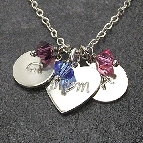 Mothers Day Gift Personalized Mother and 2 Children Necklace with Heart Mom Pendant Custom Kid Name Charms Birthstone Crystals from Swarovski