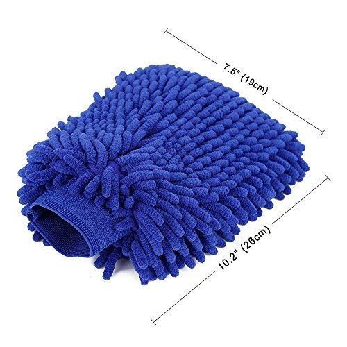 FuKang Car wash mitt, Premium Chenille Microfiber Duster Cleaning Cloth Kit,Wash car Care Equipment,Towels Accessories - Automobile wash Gloves (2 Pack Dark Blue)