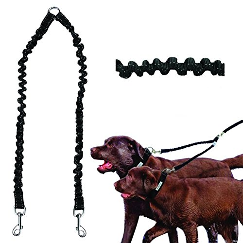 GSPet Pet Dog Puppy Leash Double Walking Lead Traction Rope Elastic Safety Splitter - Black