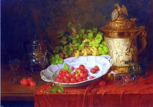 """Carl Thoma-Hofele Strawberries, Grapes and an Ornamental Jug on a Draped Table - 18.05"""" x 27.05"""" Peel & Stick Removable Wall Decal"""