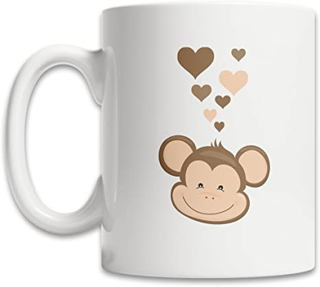 Amazon Com Cute Monkey Coffee Mug White 11oz Mug For Monkey Fans I Love Monkeys Mug Gift Kitchen Dining