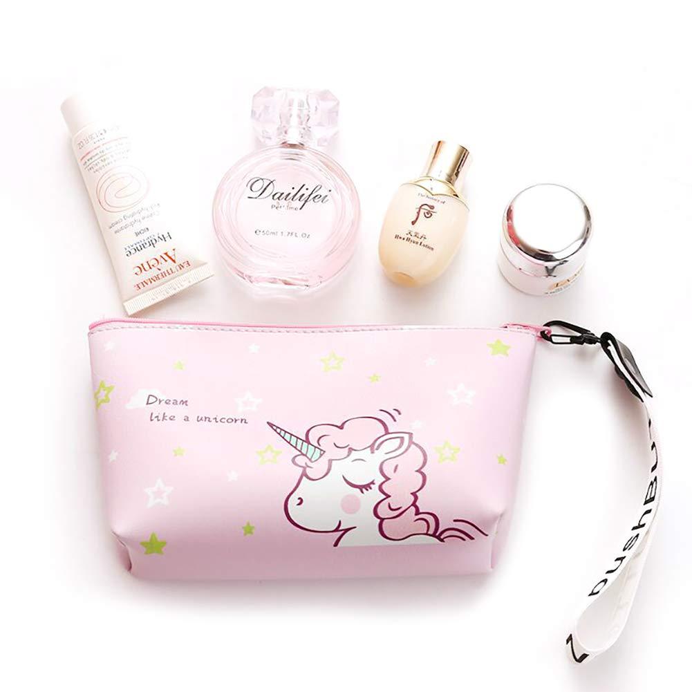 Maquillaje cosmético del recorrido del unicornio bolsa del sostenedor del organizador del lápiz de color rosa portátil de almacenamiento caso cepillo bolso de muchacha de las mujeres del monedero de la bolsa de cuero PU Hilai