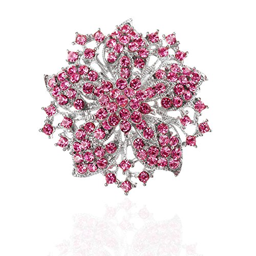 """TAGOO Womens Vintage Multicolor Alloy Bridal Flower Brooch Corsage in Crystal for Wedding Girls (Pink 1.97""""x1.97"""")"""