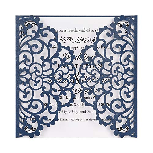 BESNIN Laser Cut Invitations,50 Pcs lace Invites for Wedding Engagement Birthday Baby Shower Party Graduation,Square Hollow Flower Invitation Kits with Blank Printable Paper