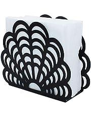 Metal Shell Shape Tabletop Napkin Holder, Freestanding Tissue Dispenser (Black)