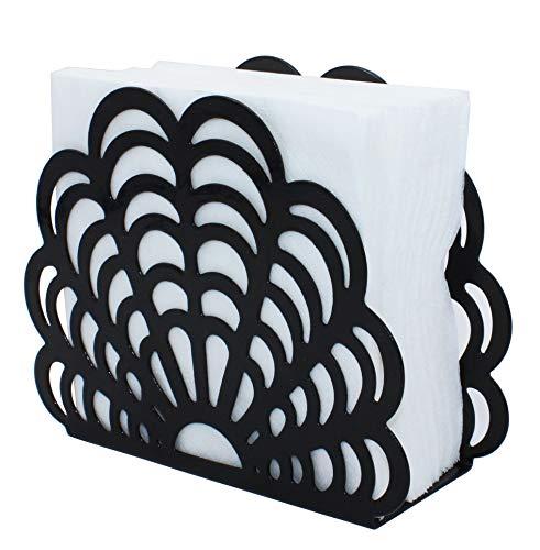 Black Metal Shell Shape Tabletop Napkin Holder, Freestanding Tissue Dispenser