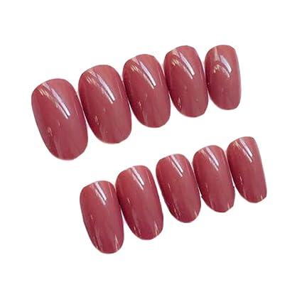 Caja de 2 Simple estilo ladrillo rojo artificial uñas postizas consejos falsos Uñas Decoración
