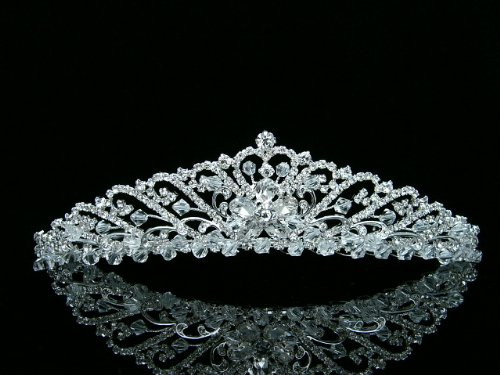 Bridal Wedding Princess Rhinestones Crystal Flower Tiara Crown - Silver Plating]()