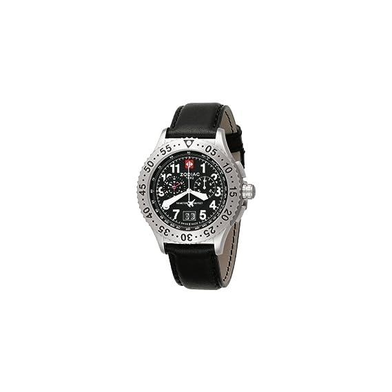 Zodiac ZO7400 - Reloj Hombre - Cronógrafo - cuarzo analógica - FECHA - Pulsera cuero negro: Zodiac: Amazon.es: Relojes