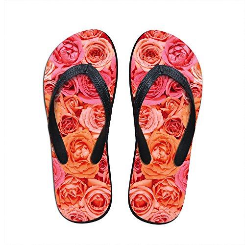 For U Design Søte Rosa Roser Utskrifts Kvinners Jenter Uformell Innendørs Stue Flip Flops Oss 8