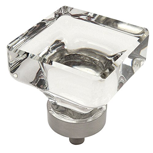 Cosmas 6377SN-C Satin Nickel Cabinet Hardware Square Knob with Clear Glass - 1-3/8