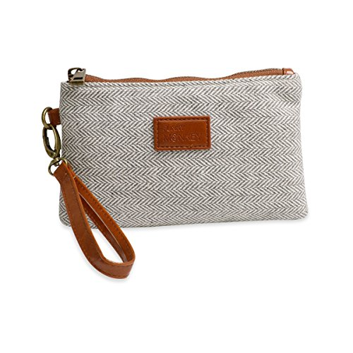 ({Grace Collection} Wristlet Wallet Clutch Bag - Phone Purse Handbag - Small, Medium, Large Size - Gray & White Herringbone Style - Funky Monkey Fashion (Medium))