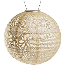 Allsop Home and Garden Soji Stella Boho, LED Outdoor Solar Lantern, Handmade with Weather-Resistant UV Rated Tyvek Fabric, Stainless Steel Hardware, for Patio, Deck, Garden, Color (Pearl)
