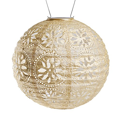 Allsop Home and Garden Soji Stella Boho, LED Outdoor Solar Lantern, Handmade with Weather-Resistant UV Rated Tyvek Fabric, Stainless Steel Hardware, for Patio, Deck, Garden, Color (Pearl) (Pearl Outdoor)