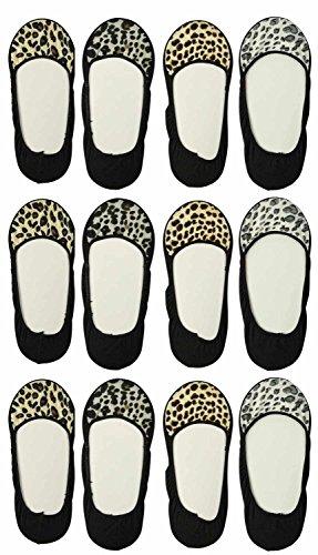 Basico Womens Sock Inner Shoe Liner Peds Size 9-11 Animal Print 12 Pairs