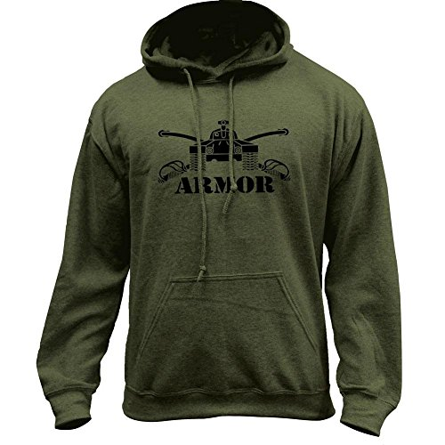USAMM Army Armor Branch Insignia Military Veteran Pullover Hoodie (X-Large, Military Green)