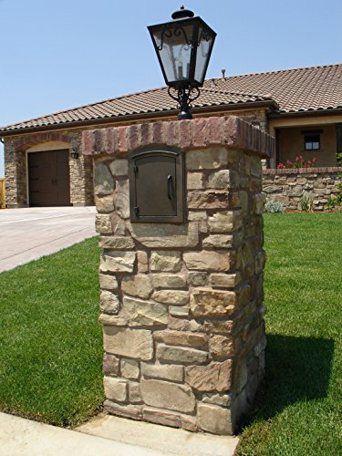 qualarc-man-1400bl-manchester-column-mount-mailbox-plain-door-black