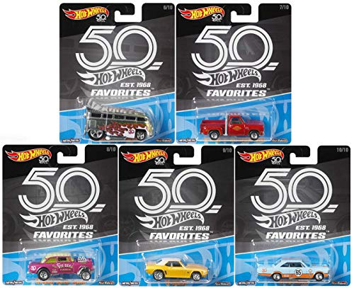 2018 Hot Wheels 50th Anniversary Favorites B Series Set of 5 1/64 Scale Diecast Cars, VW Drag Bus '55 Gasser Chevy Camaro ()